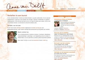 Screenshot van de WordPress website www.annevandelft.nl