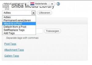 WordPress Media Library - een schermafdruk van het uitklapmenu